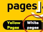 the english version of Pages Jaunes, directory of France Telecom  featuring the expressions Whitepages and Yellowpages, screenshot April 04 2004